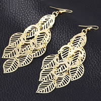 Zinc Alloy Earrings, iron earring hook, Leaf, gold color plated, hollow, nickel, lead & cadmium free, 35x