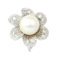 Brass Magnetic Clasp, with pearl, Flower, platinum color plated, with rhinestone, white, nickel, lead & cadmium free, 22x24x17mm, Hole:Approx 2mm, Sold By PC