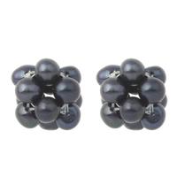 Koraliki z hodowlanych pereł w kształcie piłki, Perła naturalna słodkowodna, Ziemniak, czarny, 12x15mm, otwór:około 2mm, sprzedane przez PC