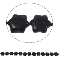 Natural Blue Goldstone Beads, Flower, 13x15x5mm, Hole:Approx 1.5mm, Approx 28PCs/Strand, Sold Per Approx 15.7 Inch Strand