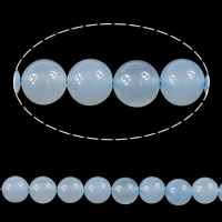Blue Chalcedony Beads, Round, platinum color plated, different size for choice, Grade AAAAA, Sold By Lot