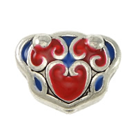 3 Holes Guru Beads, Zinc Alloy, antique silver color plated, imitation cloisonne & enamel & hollow, nickel, lead & cadmium free, 15x12x7mm, Hole:Approx 2mm, 1.5mm, 100PCs/Lot, Sold By Lot