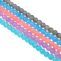 Fashion Glass Beads, Round, different size for choice, more colors for choice, Hole:Approx 1mm, Length:Approx 31.4 Inch, Sold By Bag