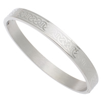 Stainless Steel Bangle, original color, 68x58x8mm, Inner Diameter:Approx 52x62mm, Length:Approx 7.5 Inch, Sold By PC