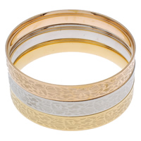 Stainless Steel Bangle Set, Donut, plated, 3-strand, multi-colored, 69x9mm, Inner Diameter:Approx 64mm, Length:Approx 7.5 Inch, 3PCs/Set, Sold By Set