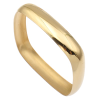 Stainless Steel Bangle, Square, gold color plated, 71x71x12mm, Inner Diameter:Approx 66mm, Length:Approx 8 Inch, Sold By PC