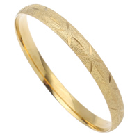 Stainless Steel Bangle, Donut, gold color plated, flower cut & stardust, 68x8mm, Inner Diameter:Approx 60mm, Length:Approx 7 Inch, Sold By PC