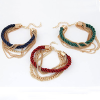 Zinc Alloy Bracelet with Nylon Cord gold color plated 7-strand 5mm Sold Per 7 Inch Strand