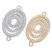 Cubic Zirconia Micro Pave Brass Connector Flat Oval plated micro pave cubic zirconia   1/1 loop 15x26mm Hole:Approx 1.5mm 5PCs/Lot