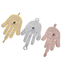 Cubic Zirconia Micro Pave Brass Connector Hamsa plated Islamic jewelry   micro pave cubic zirconia   1/1 loop 28x15mm Hole:Approx 1.6mm 5PCs/Lot