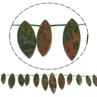 Natural Unakite Beads, Horse Eye, 10-14x28-40mm, Hole:Approx 1mm, Length:Approx 15 Inch, 5Strands/Bag, Approx 18PCs/Strand, Sold By Bag