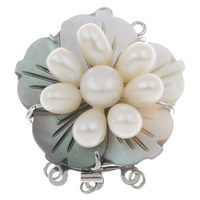 Freshwater Pearl Box Clasp, with Black Shell & Brass, Flower, platinum color plated, natural & 3-strand, 38x31x13mm, Hole:Approx 2mm, Sold By PC