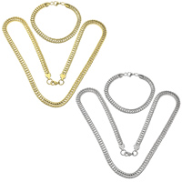 Refine Stainless Steel Jewelry Sets, bracelet & necklace, plated, wheat chain, more colors for choice, 6.5mm, 6.5mm, Length:Approx 23 Inch, Approx 8.5 Inch, 10Sets/Lot, Sold By Lot