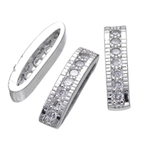 Rhinestone Spacers, Brass, platinum plated, 3-hole & micro pave cubic zirconia, nickel, lead & cadmium free, 4x17mm, Hole:Approx 1mm, 20PCs/Lot, Sold By Lot