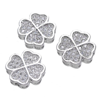 Cubic Zirconia Micro Pave Brass Connector Four Leaf Clover platinum plated micro pave cubic zirconia   multi loops nickel lead   cadmium free 12x12mm Hole:Approx 1.5mm 5PCs/Lot