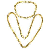 Refine Stainless Steel Jewelry Sets, bracelet & necklace, gold color plated, curb chain, 9x6x1.5mm, 9x6x1.5mm, Length:Approx 24 Inch, Approx 10 Inch, 10Sets/Lot, Sold By Lot