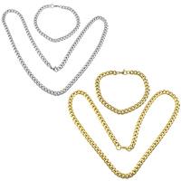 Ogranicz ze stali nierdzewnej Zestawy biżuterii, bransoletka & naszyjnik, Stal nierdzewna, Powlekane, różnej wielkości do wyboru & łańcucha krawężnika, dostępnych więcej kolorów, 10zestawy/wiele, sprzedane przez wiele