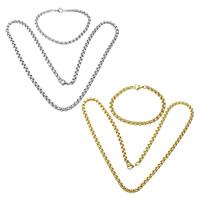 Ogranicz ze stali nierdzewnej Zestawy biżuterii, bransoletka & naszyjnik, Stal nierdzewna, Powlekane, pole łańcucha, dostępnych więcej kolorów, 5x5x0.8mm, 5x5x0.8mm, długość:około 22 cal, około 7 cal, 10zestawy/wiele, sprzedane przez wiele