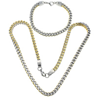 Refine Stainless Steel Jewelry Sets, bracelet & necklace, plated, curb chain & two tone, 8x6x1.5mm, 8x6x1.5mm, Length:Approx 23 Inch, Approx 9 Inch, 10Sets/Lot, Sold By Lot