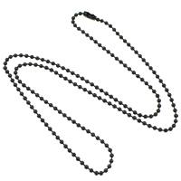 Stal nierdzewna Nekclace Chain, Czarna płytka, łańcuszkiem, 2mm, długość:około 23.5 cal, 10nici/wiele, sprzedane przez wiele