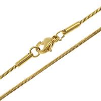 Stal nierdzewna Nekclace Chain, Platerowane w kolorze złota, wąż łańcucha, 1mm, długość:około 17.5 cal, 10nici/wiele, sprzedane przez wiele