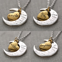 Zinc Alloy Jewelry Necklace, Moon and Star, plated, oval chain & different designs for choice & with letter pattern & two tone, nickel, lead & cadmium free, 10mm, 3Strands/Lot, Sold By Lot