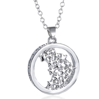 Zinc Alloy Jewelry Necklace, with 2lnch extender chain, Flat Round, silver color plated, with star pattern & oval chain & with letter pattern & enamel, nickel, lead & cadmium free, 24mm, Length:Approx 20 Inch, 3Strands/Lot, Sold By Lot