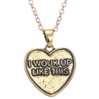 Zinc Alloy Jewelry Necklace, with 2lnch extender chain, Heart, plated, oval chain & with letter pattern, nickel, lead & cadmium free, 20x20mm, Length:Approx 20 Inch, 3Strands/Lot, Sold By Lot