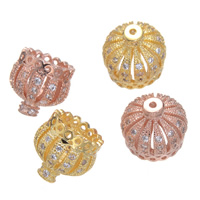 Brass Tassel Cap Bail Crown plated micro pave cubic zirconia nickel lead   cadmium free 9x9mm Hole:Approx 0.8mm 5PCs/Lot