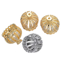 Brass Tassel Cap Bail Crown plated micro pave cubic zirconia nickel lead   cadmium free 10x10mm Hole:Approx 1mm 5PCs/Lot