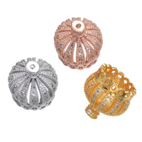 Brass Tassel Cap Bail Crown plated micro pave cubic zirconia nickel lead   cadmium free 13x13mm Hole:Approx 1mm 5PCs/Lot