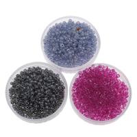 Szklane koraliki z kolorowa linią, Koraliki szklane, Koło, Pokryte kolorem, dostępnych więcej kolorów, 2x1.9mm, otwór:około 1mm, około 6660komputery/torba, sprzedane przez torba
