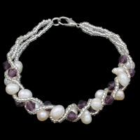 Freshwater Cultured Pearl Bracelet, Crystal, with Freshwater Pearl & Glass Seed Beads, iron screw clasp, 4-5mm, Sold Per 7.5 Inch Strand