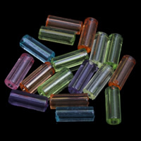 Transparent Acrylic Beads, Tube, different size for choice, mixed colors, Hole:Approx 1mm, Sold By Bag