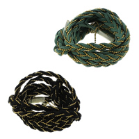 Velveteen Cord, with Plastic, gold color plated, braided & 4-yarn, more colors for choice, 8x3mm, 100m/Lot, Sold By Lot