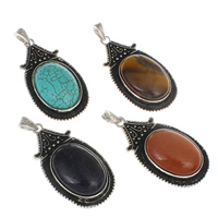 Mixed Gemstone Pendants, with Zinc Alloy, Teardrop, natural, mixed colors, 30x55x12mm, Hole:Approx 5x8mm, 30PCs/Bag, Sold By Bag