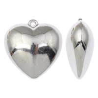 Copper Coated Plastic Pendant, Heart, platinum color plated, nickel, lead & cadmium free, 42x44x20mm, Hole:Approx 2.5mm, Sold By PC