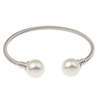 Brass Cuff Bangle, with Glass Pearl, platinum color plated, nickel, lead & cadmium free, 68x81x16mm, Inner Diameter:Approx 75x50mm, Length:Approx 9 Inch, Sold By PC