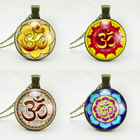 Time Gem Jewelry Necklace, Zinc Alloy, with Paper & Glass, Flat Round, antique bronze color plated, with om symbol & twist oval chain & different designs for choice, nickel, lead & cadmium free, 25mm, Sold Per Approx 21 Inch Strand