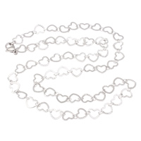 Stainless Steel Chain Necklace heart chain original color 7x6.50x0.50mm Sold Per Approx 19.5 Inch Strand