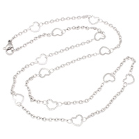 Stainless Steel Chain Necklace, oval chain, original color, 7x6.50x0.50mm, Sold Per Approx 19.5 Inch Strand