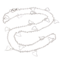 Stainless Steel Chain Necklace, oval chain, original color, 7x8x0.50mm, Sold Per Approx 18.5 Inch Strand