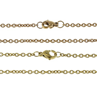 Stainless Steel Chain Necklace plated oval chain 3x2x0.50mm Length:Approx 18 Inch 50Strands/Lot