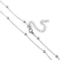 Stal nierdzewna Nekclace Chain, ze 3lnch przedłużeniami łańcuszka, skręt owalne, oryginalny kolor, 4mm, 2x1.5x0.3mm, długość:około 16 cal, 30nici/wiele, sprzedane przez wiele