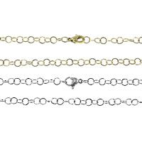 Stal nierdzewna Nekclace Chain, Powlekane, okrągłe ogniwa łańcucha, dostępnych więcej kolorów, 5x5x0.50mm, długość:około 18 cal, 30nici/wiele, sprzedane przez wiele
