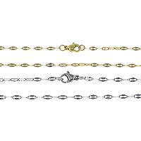 Stal nierdzewna Nekclace Chain, Powlekane, owalne łańcucha, dostępnych więcej kolorów, 5x2.50x0.20mm, długość:około 17 cal, 50nici/wiele, sprzedane przez wiele
