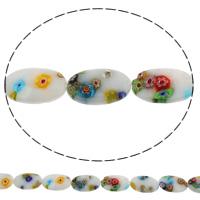 Стеклянные бусины, выполненные в технике миллефиори, Миллефиори, Плоская овальная форма, Связанный вручную, разный размер для выбора, отверстие:Приблизительно 1mm, длина:Приблизительно 14.5 дюймовый, продается сумка