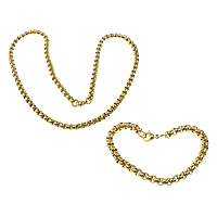 Refine Stainless Steel Jewelry Sets, bracelet & necklace, gold color plated, box chain, 6x6x3.5mm, 6x6x3.5mm, Length:Approx 8.5 Inch, Approx 24 Inch, 10Sets/Lot, Sold By Lot
