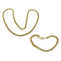 Ogranicz ze stali nierdzewnej Zestawy biżuterii, bransoletka & naszyjnik, Stal nierdzewna, Platerowane w kolorze złota, pole łańcucha, 6x6x3.5mm, 6x6x3.5mm, długość:około 8.5 cal, około 24 cal, 10zestawy/wiele, sprzedane przez wiele