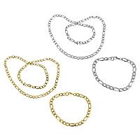 Ogranicz ze stali nierdzewnej Zestawy biżuterii, bransoletka & naszyjnik, Stal nierdzewna, Powlekane, łańcuch Figaro, dostępnych więcej kolorów, 13x6x1.5mm, 9x6x1.5mm, 13x6x1.5mm, 9x6x1.5mm, długość:około 8 cal, około 23 cal, 10zestawy/wiele, sprzedane przez wiele
